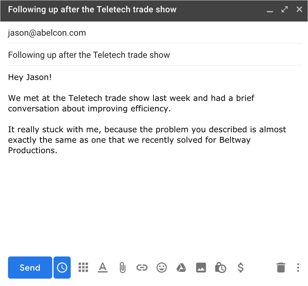 trade show follow up emails