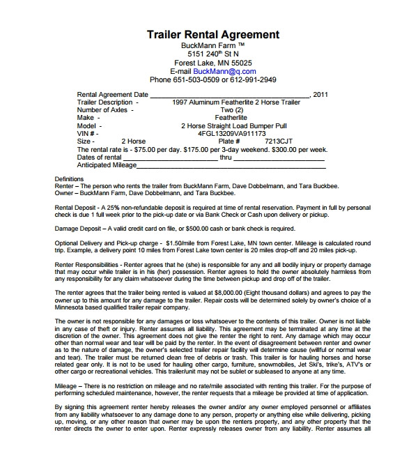 Trailer Rental Contract Template 11 Trailer Rental Agreement Templates Pdf