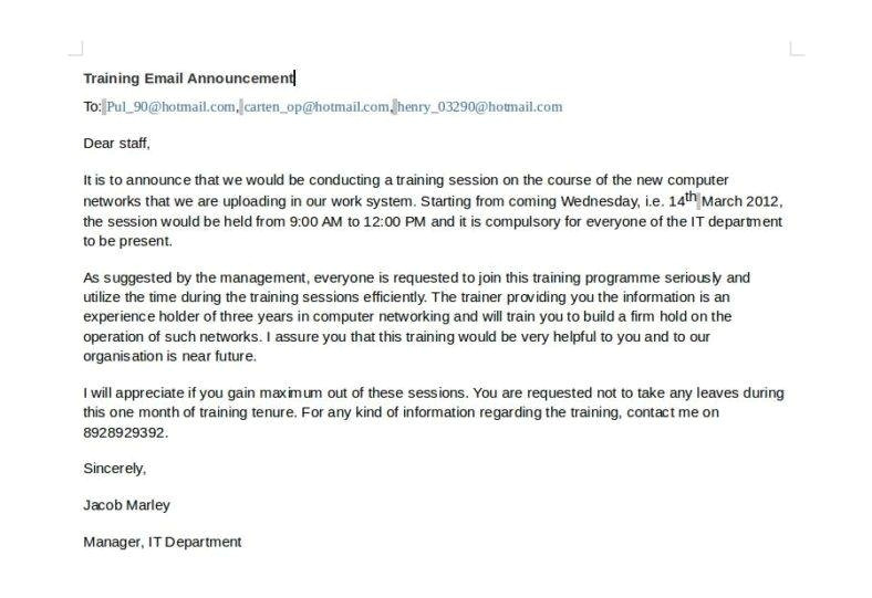 email announcement template