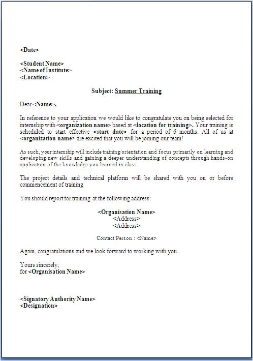 summer training offer letter format