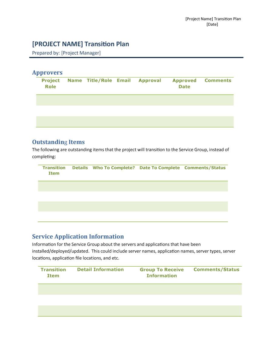 transition plan templates