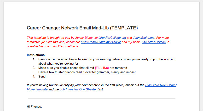 network email madlib template