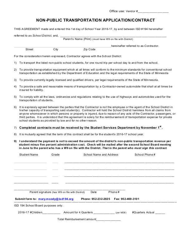 transportation contract form