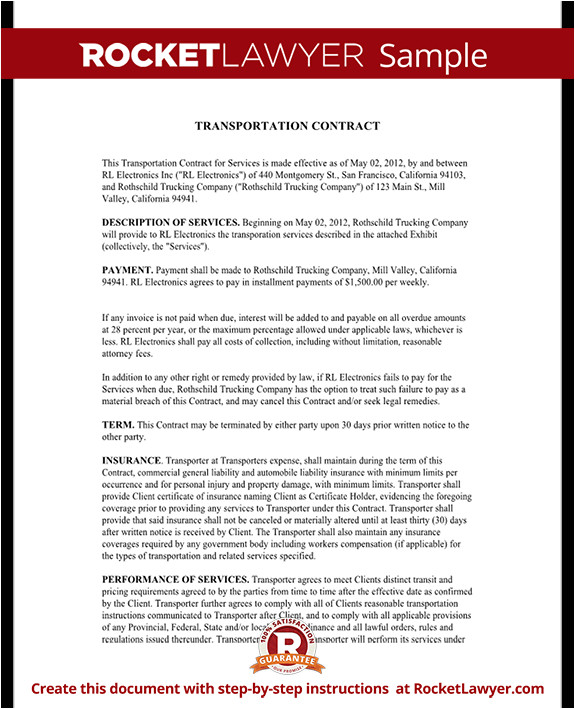 Transportation Service Contract Template Transportation Contract Agreement form with Sample