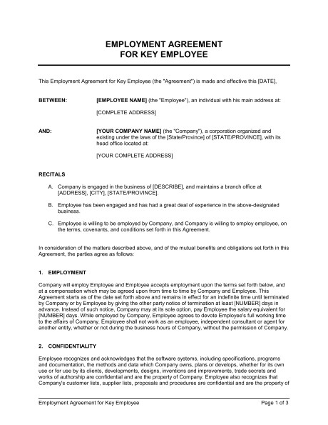 employment agreement key employee d546