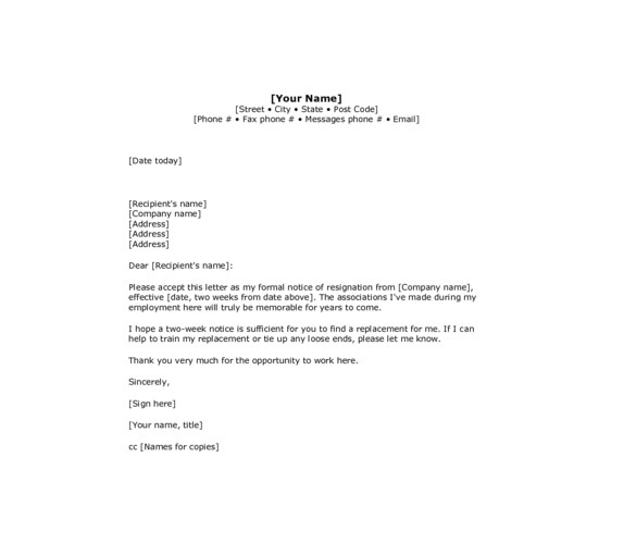 sample 2 week notice resignation letter