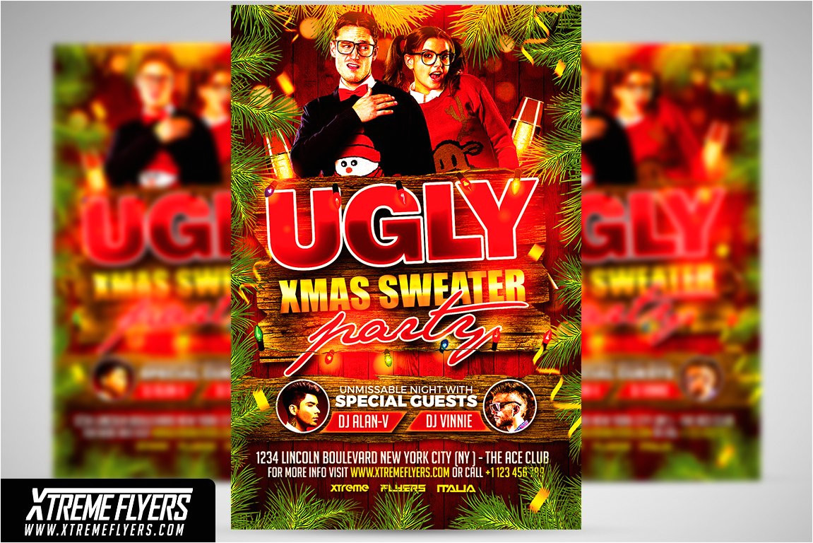 1814372 ugly christmas sweater party flyer