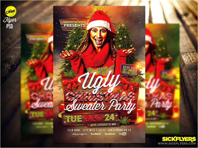 ugly christmas sweater party flyer template psd 415081716