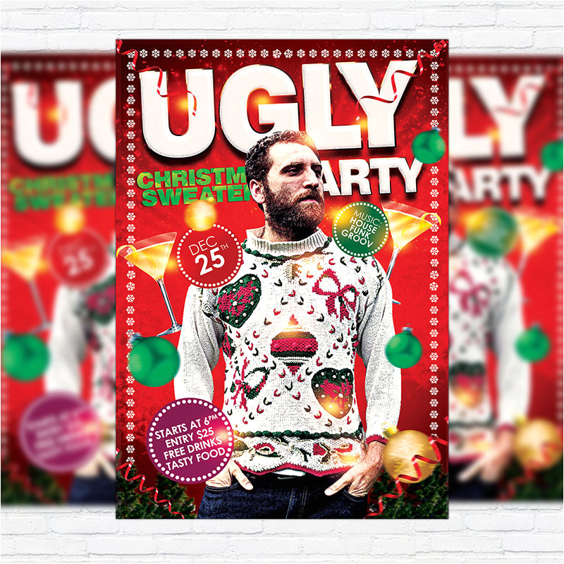 ugly christmas sweaters party premium flyer template facebook cover