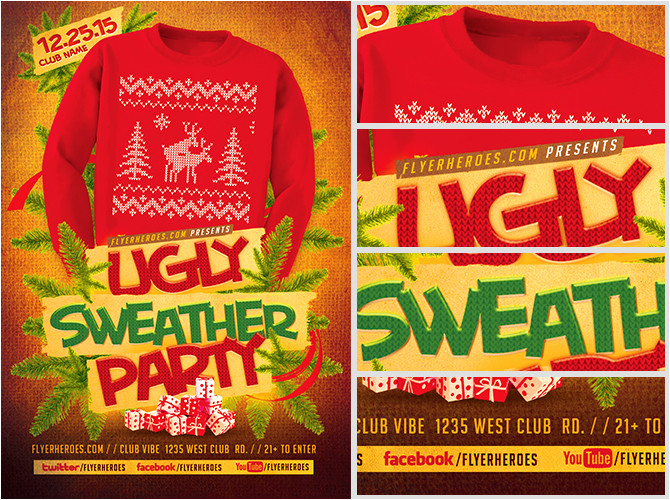 ugly sweater flyer template 2