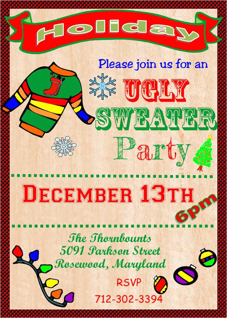 ugly sweater party flyer template free