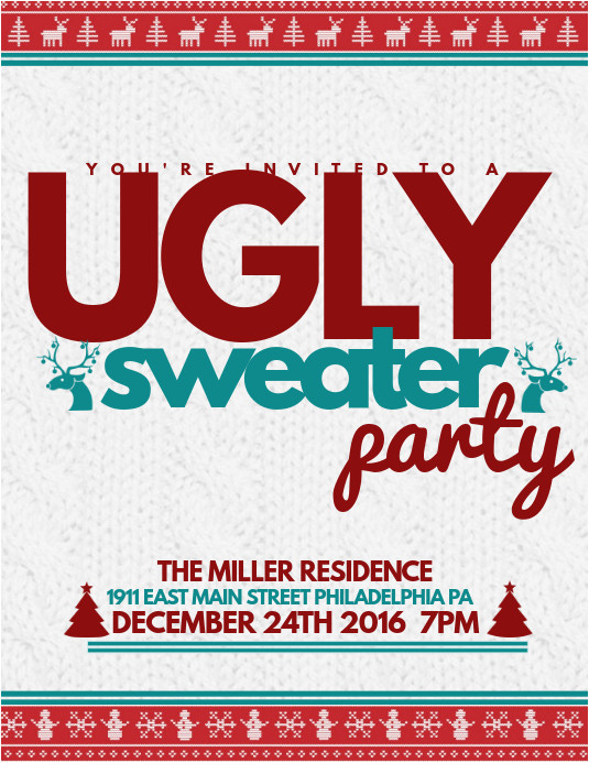 ugly sweater flyer template