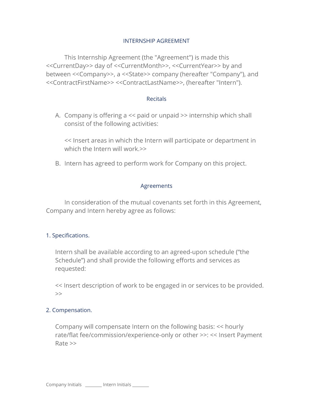 internship agreement technical it