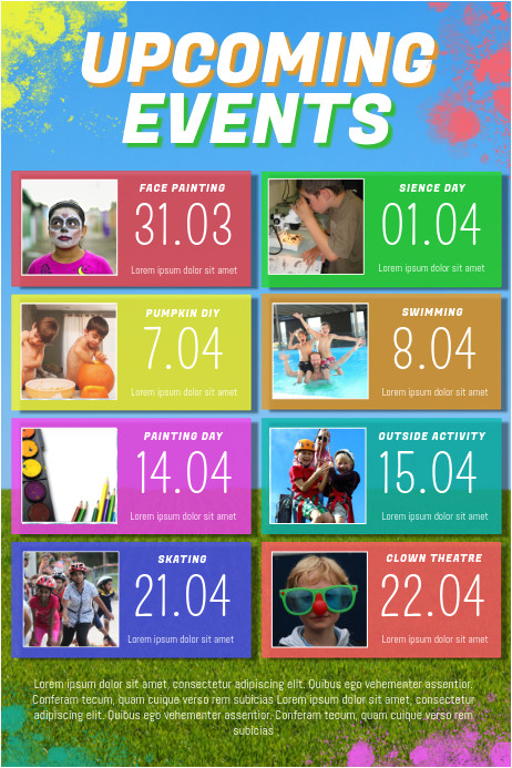 kids upcoming events poster template