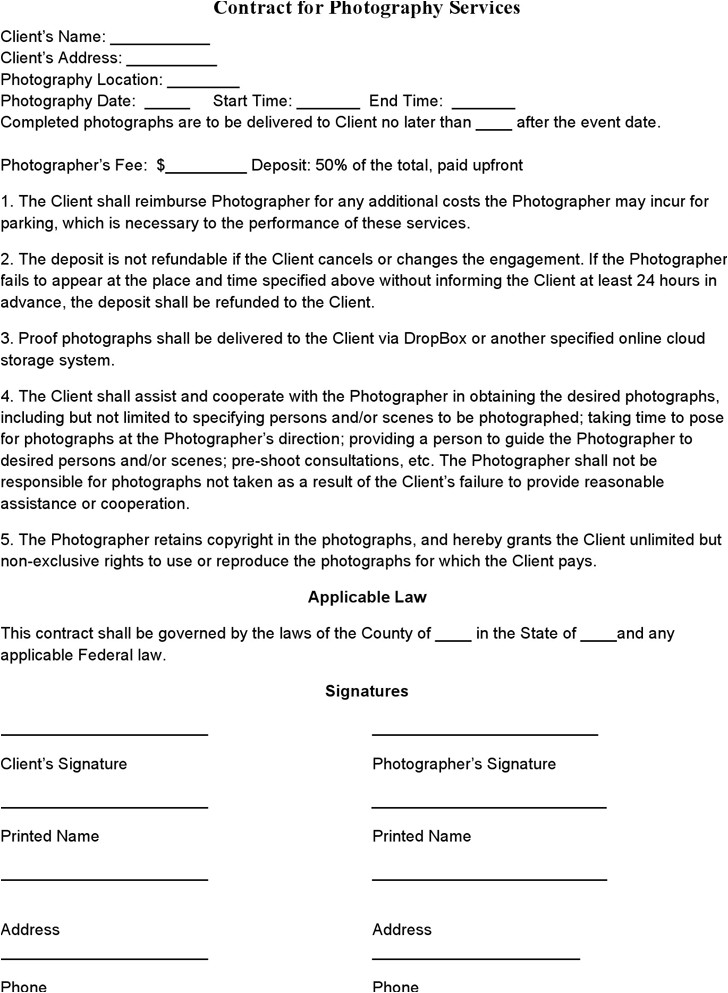 Usage Rights Contract Template event Photography Contract Template Photography