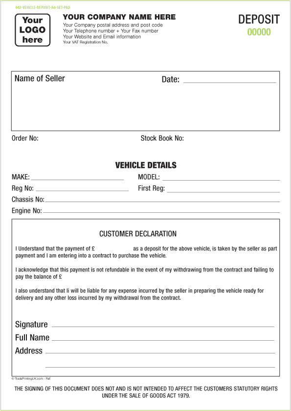 vehicle forms ncr templates sets