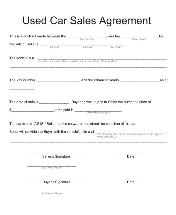vehicle sales contract