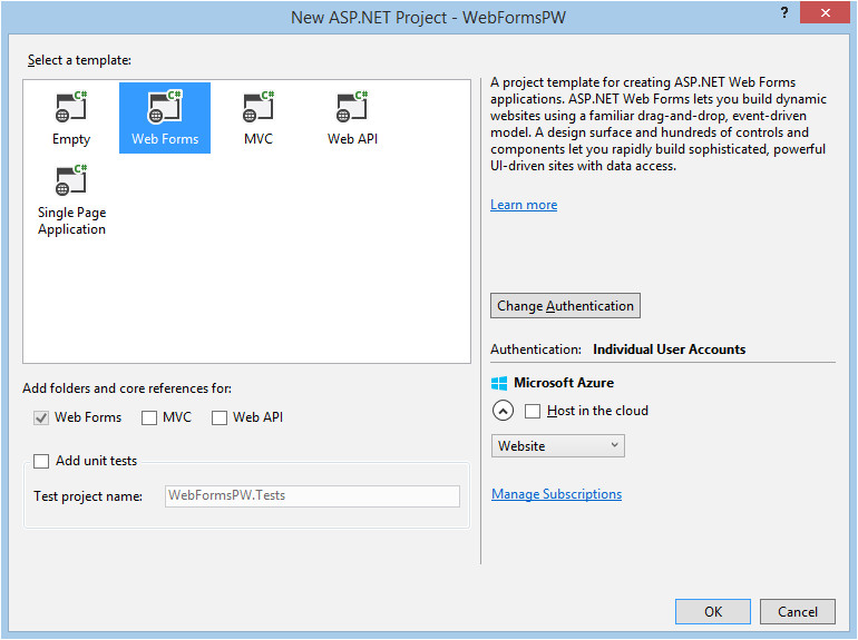 create a secure aspnet web forms app with user registration email confirmation and password reset