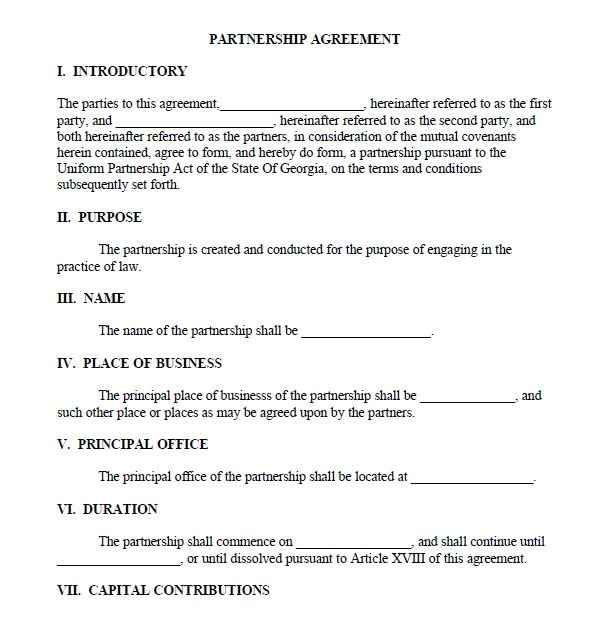 Usufructuary Contract Sample Template Printable Sample Partnership Agreement Sample form Real