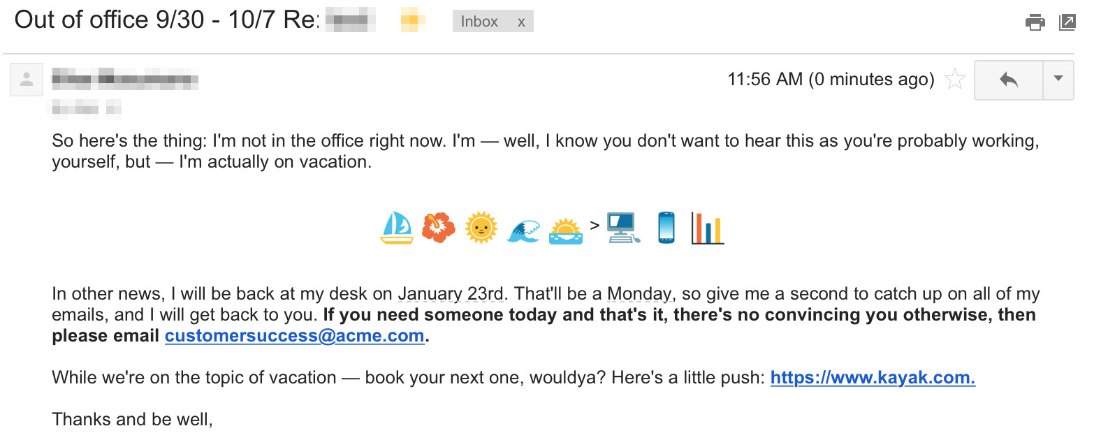 out of office examples