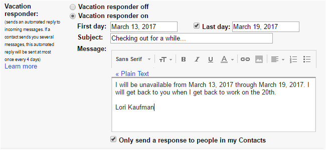how to create a vacation away message for almost any email account