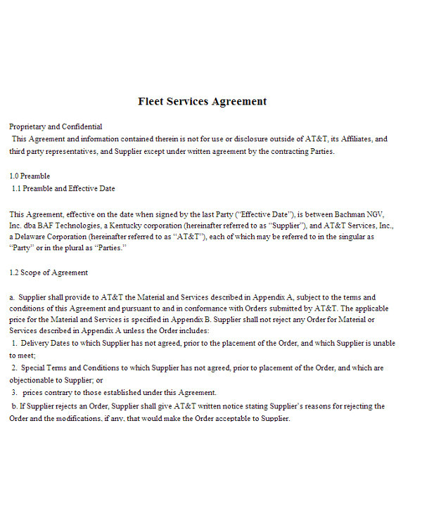 fleet management contract template pdf
