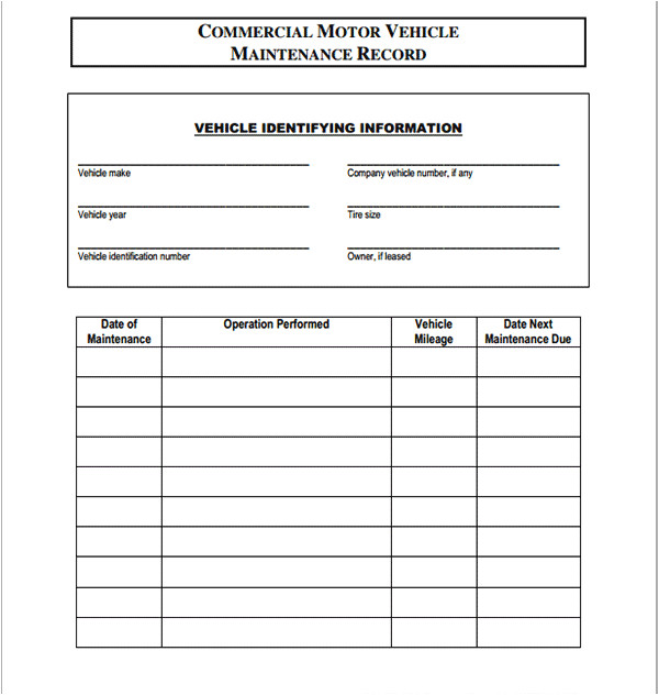 commercial vehicle maintenance contract