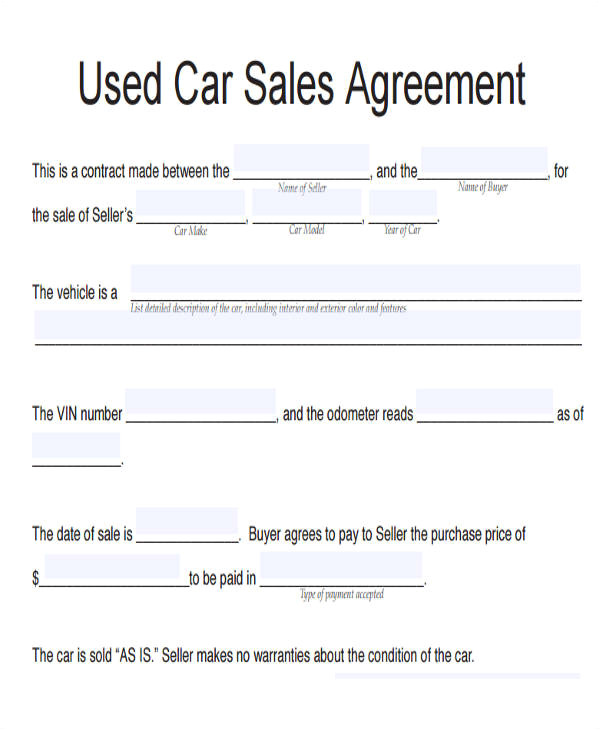 vehicle sales agreement sample