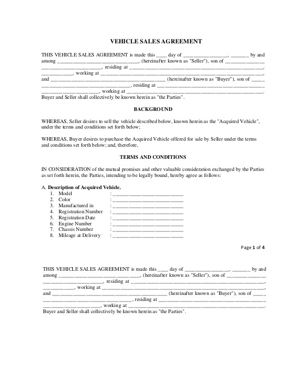 purchase and sale agreement templates