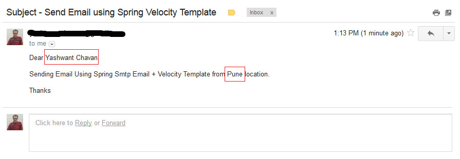 spring email velocity template example
