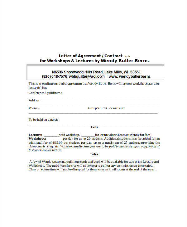 Verbal Agreement Contract Template 32 Sample Agreement Letters Word Pdf