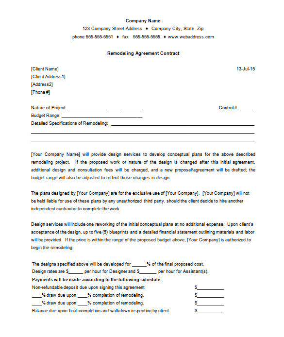 construction remodeling contract