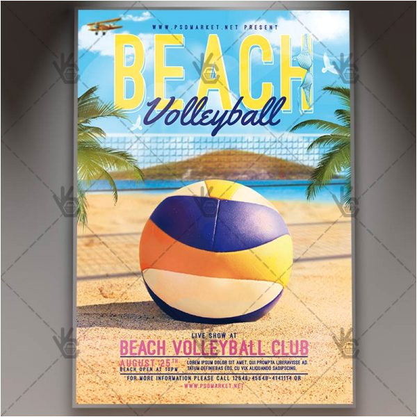 beach volleyball premium flyer psd template