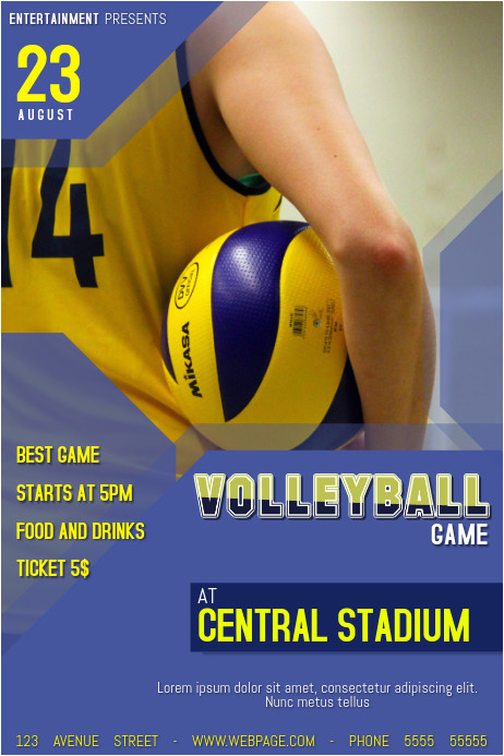 Volleyball Flyer Template Free Volleyball Game Poster Flyer Template Postermywall