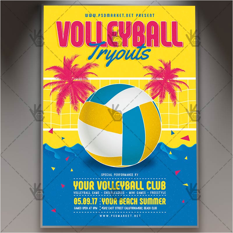 volleyball tryouts premium flyer psd template
