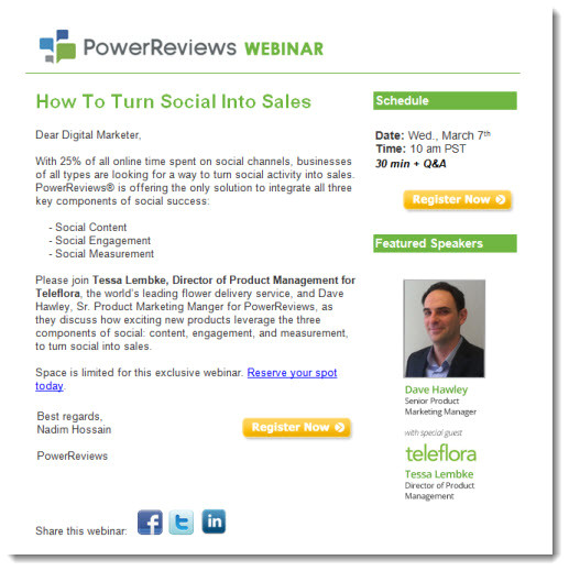 webinar invitations sell the event not the product