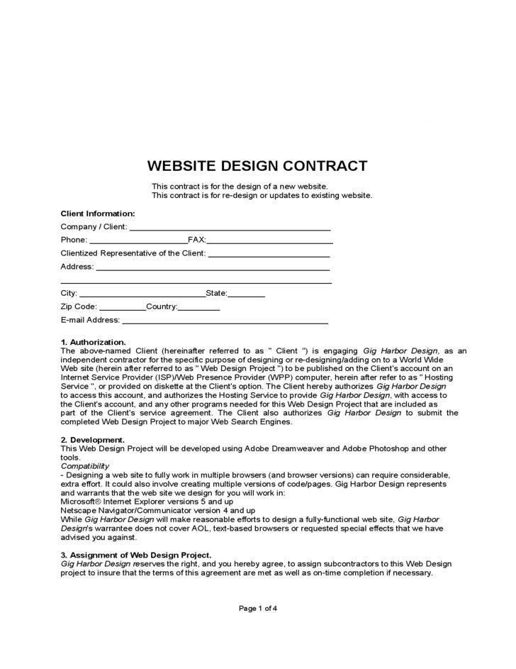 free website design contract 2