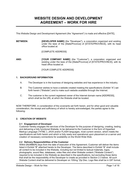 website design agreement d821
