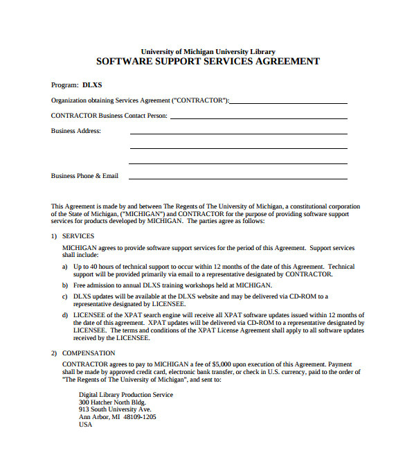 Website Support Contract Template It Support Contract Template 9 Download Documents In