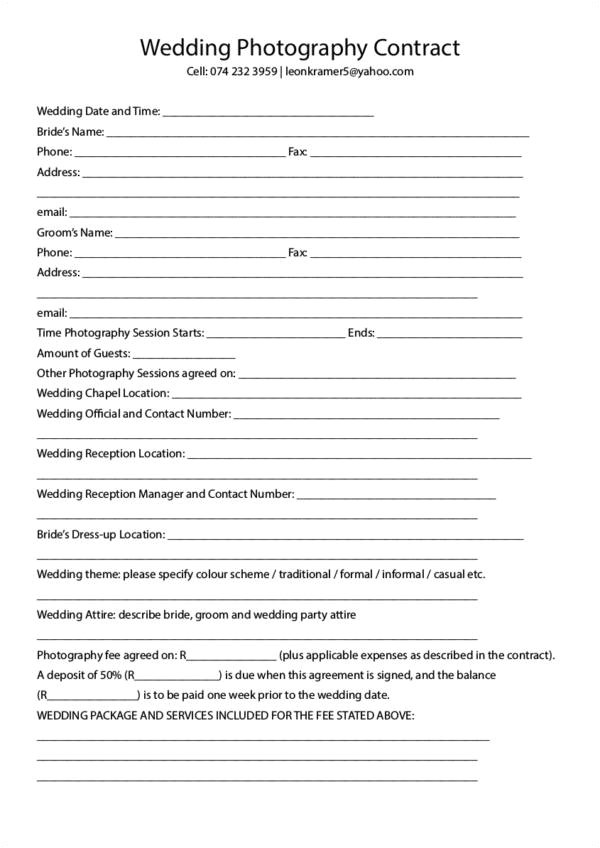 photography contract templates samples