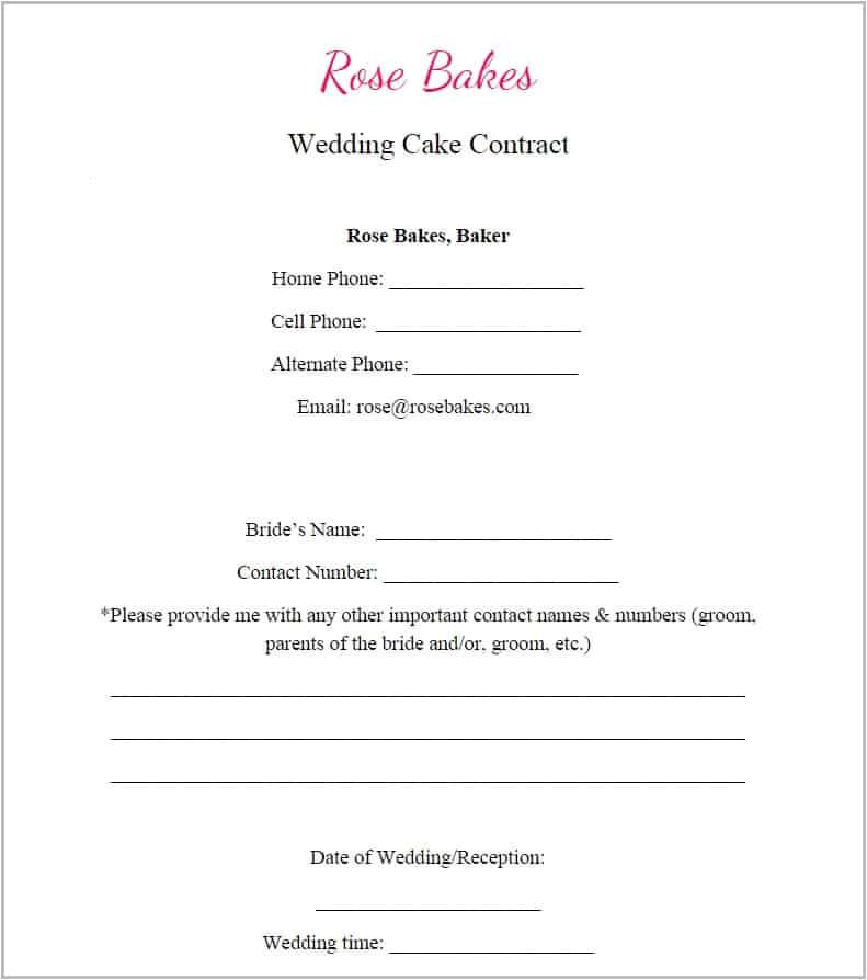 generic blank wedding cake contract