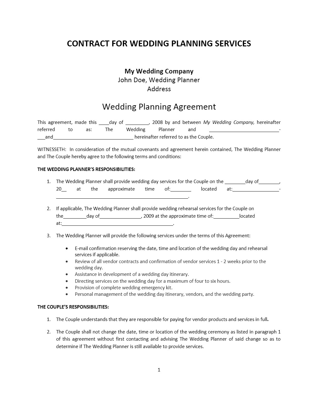 wedding planner contract template respond