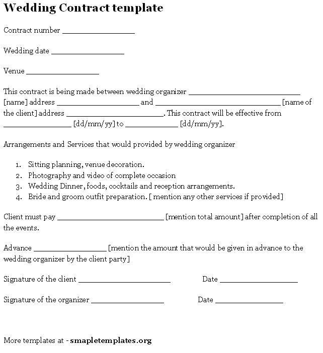 Wedding Dress Contract Template Wedding Contract Template Sample Templates Pinterest