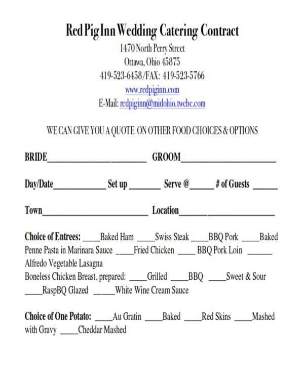 wedding contract agreement