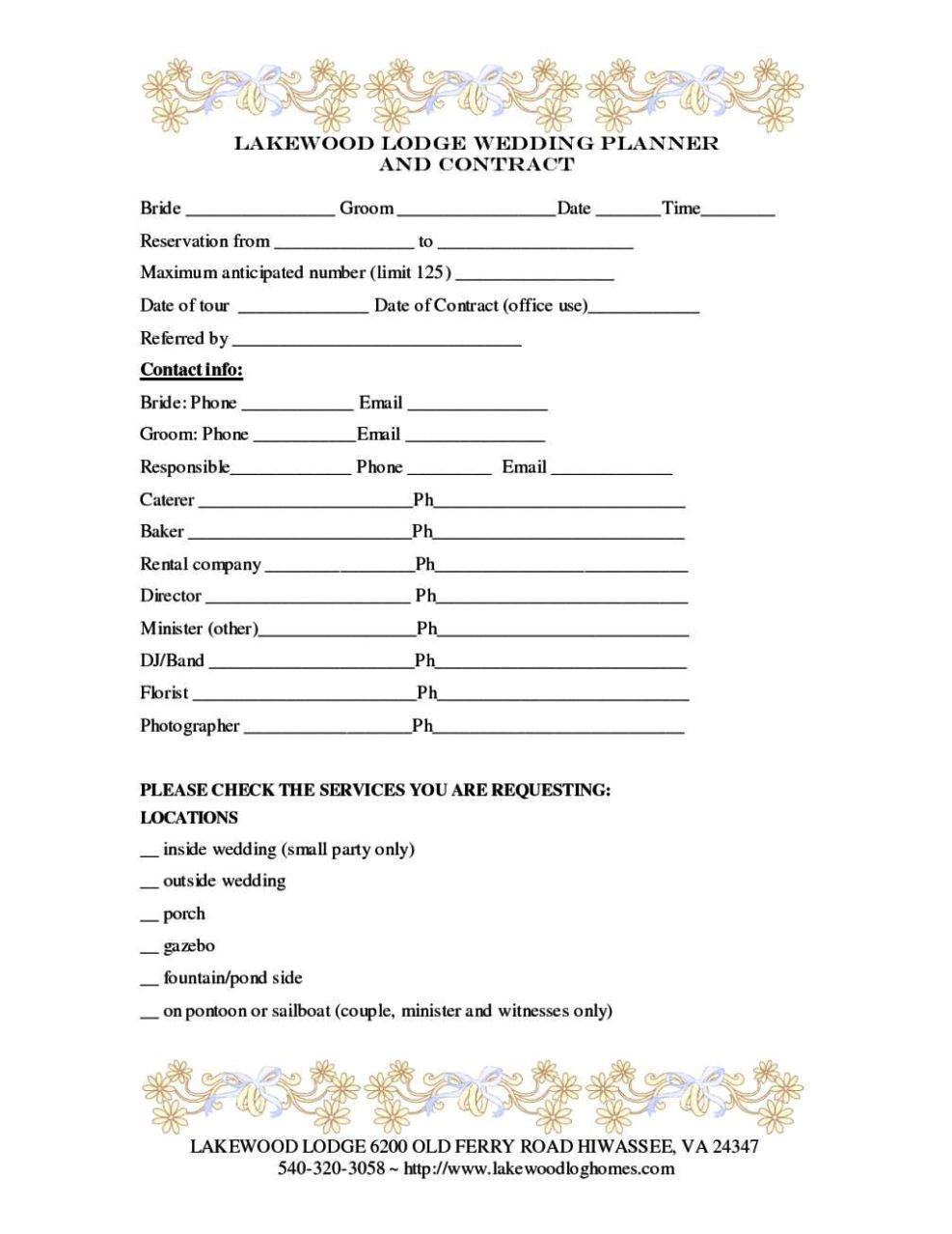wedding florist contract template