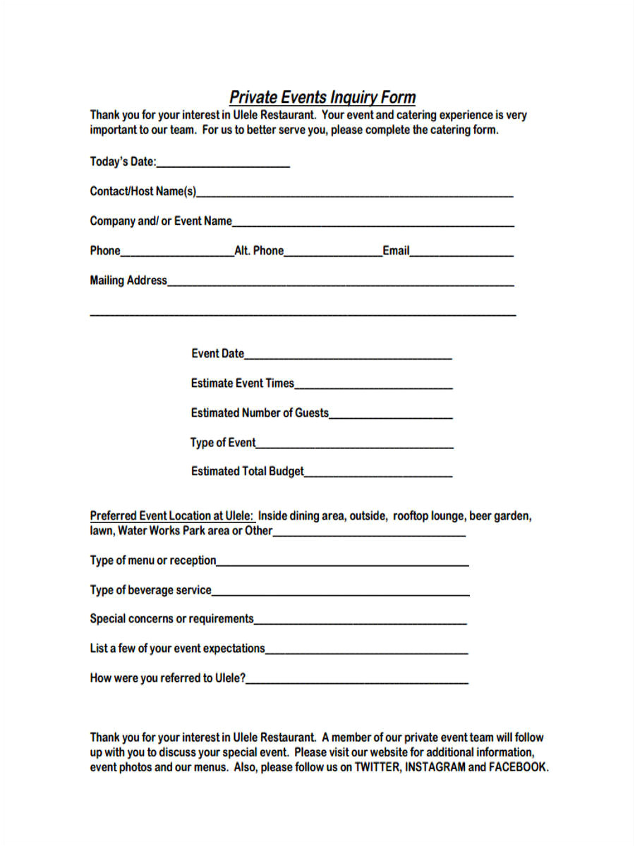 event inquiry form sample