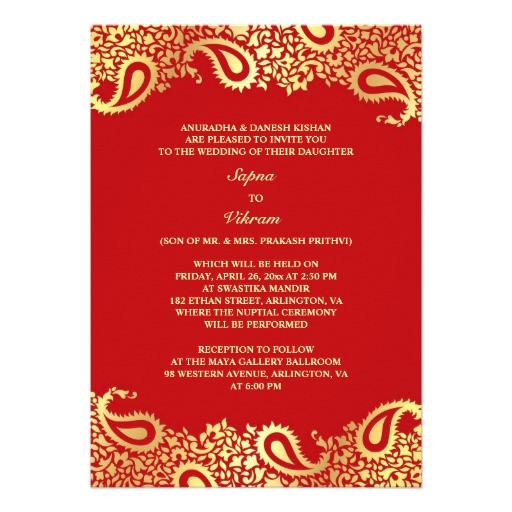 paisleys elegant indian wedding flat invitation 161074492018870128