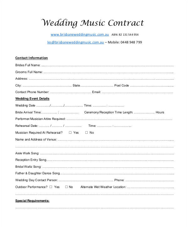 music contract templates