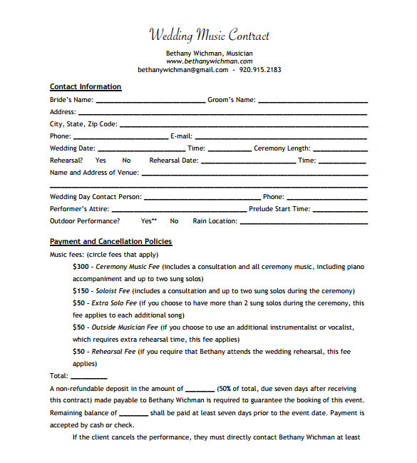Wedding Musician Contract Template Sample Music Contract Template 22 Free Documents In Pdf