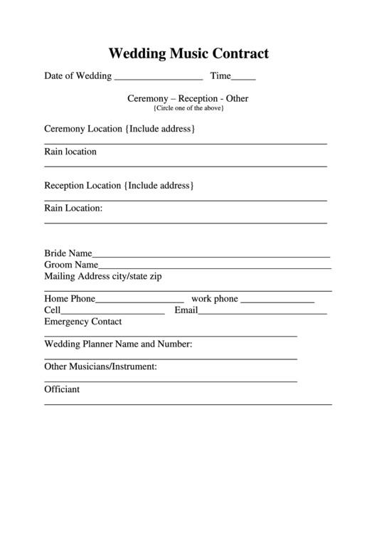 wedding music contract